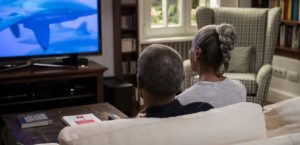 Image That Shows That Hearing Impaired persons Watching Television.