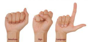 Human Hands Representing American Sign language.