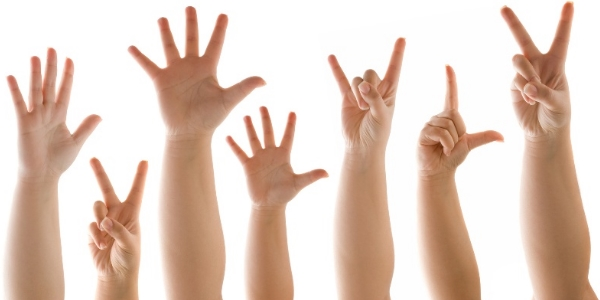 Kids Showing Various Sign Symbols Through Their Hand.