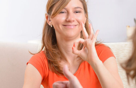 Learning sign language.